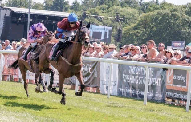 Justatenner leads in the second race of the day at Cartmel, photos by Milton Howarth