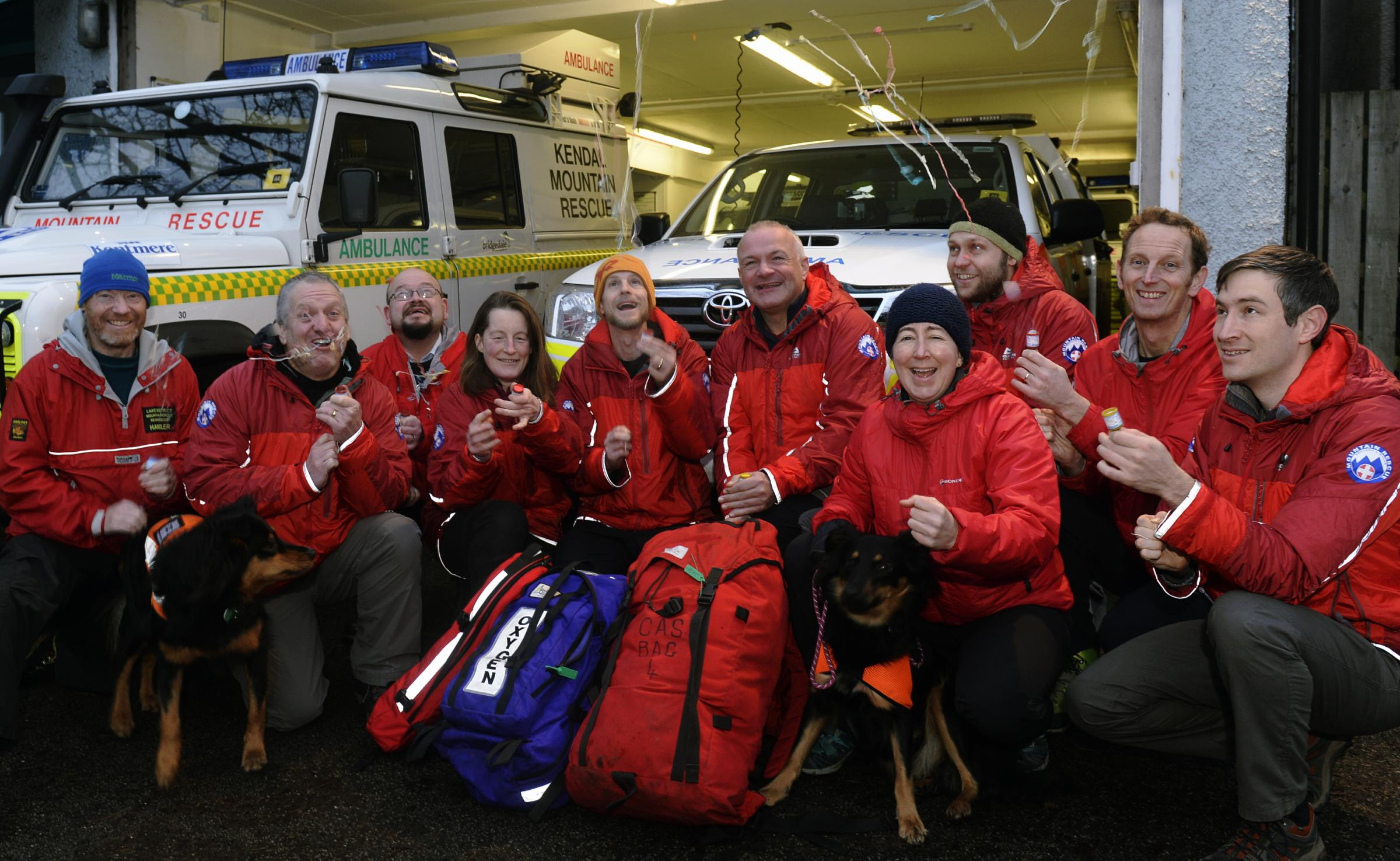 Kendal Mountain Rescue Team celebrates after reaching the £40,000 fund-raising tagert for a new mobile base - made possible partly by a Gannett Foundation grant