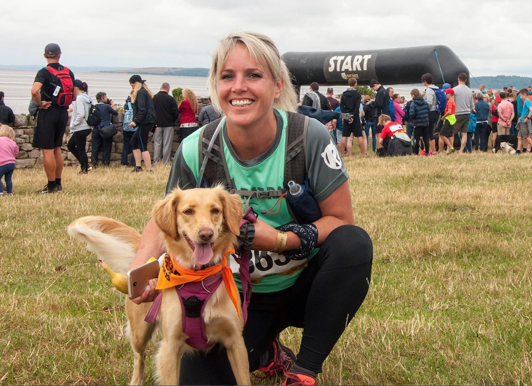 Hayley Leece, reception manager at the Langdale Chase Hotel, with rescue dog Cher. Below, Cher just after being rescued after being tied to a post in Cyprus.
