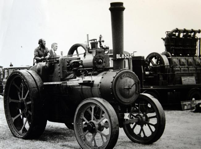A 1908 Garrett traction engine at Cumbria Steam Gathering in 1992