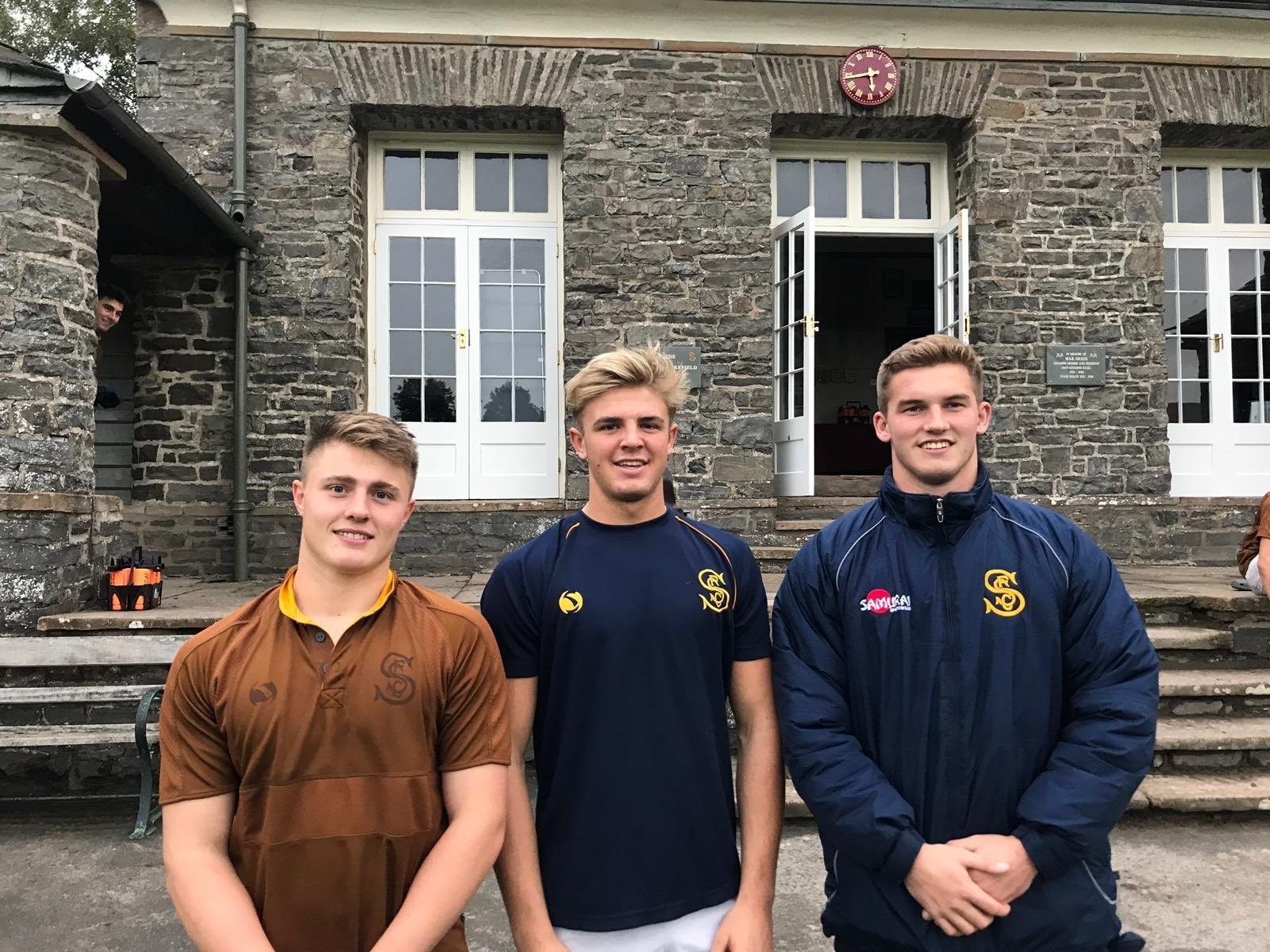 Sedbergh's three England Under 18 rubgy hopefuls. From the left are Will, Tom and Harry