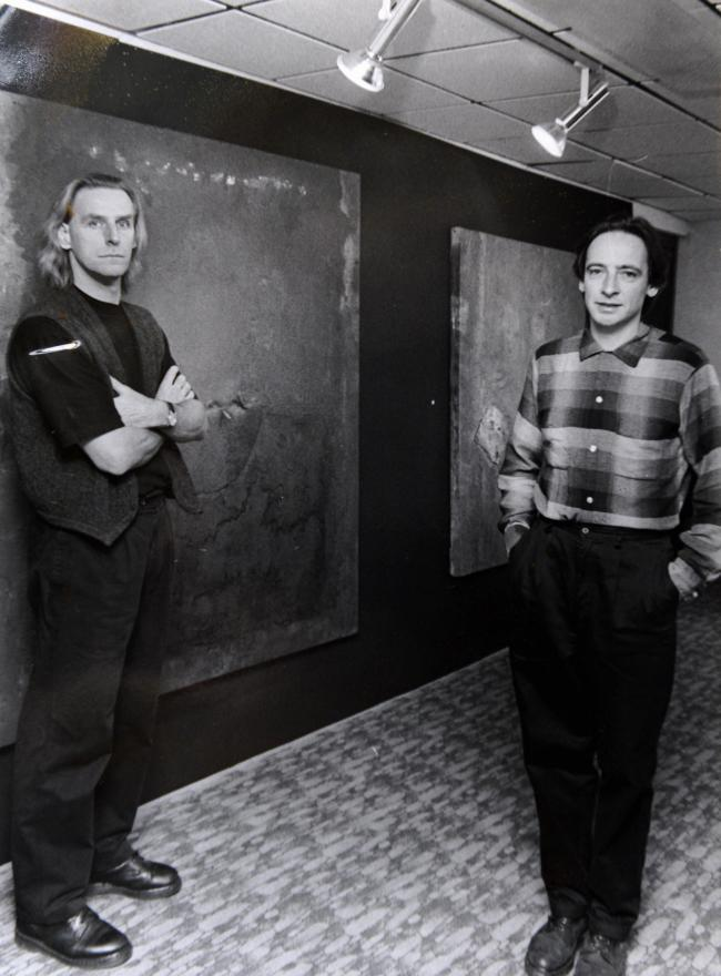 Ian Watson and Russell Mills with their 'Between Two Lights' exhibition at Charlotte Mason College in 1994