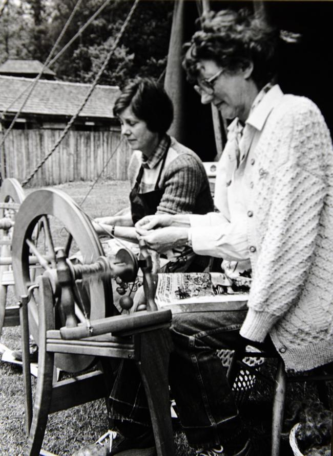 Yarn spinners Meg Riley and Judith Amos enjoying the Langdale Gala in 1986