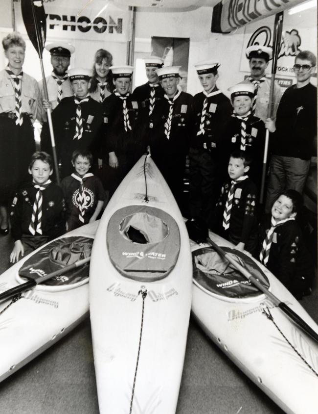 Windermere Scouts with their new Pyranha Kayaks in 1991
