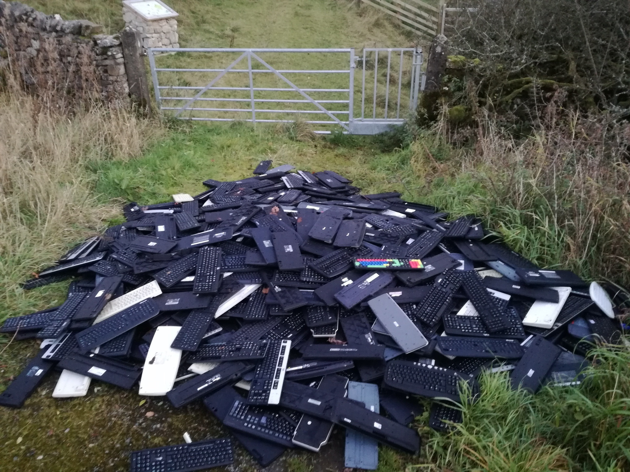 Dumped computer keyboards at Horton-in-Ribblesdale