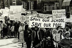 Residents protest in Kirkby Stephen in 1998