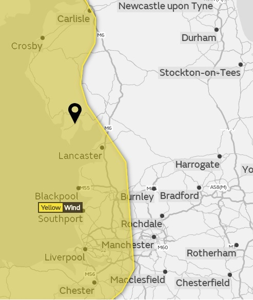 Yellow Weather Warning Issued For Ulverston And West Ofbria