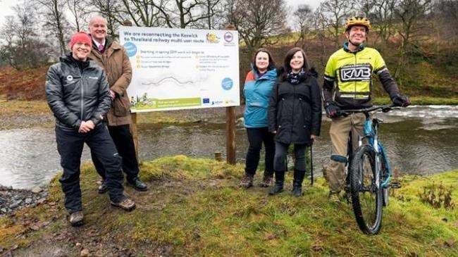 Key partners gathered at Brundholme, L-R: Richard Leafe, LDNPA, Jonathan Reade, Highways England, Sarah Swindley, Lake District Foundation, Brittant Mason from ERDF and Amos Doran, Keswick Bikes