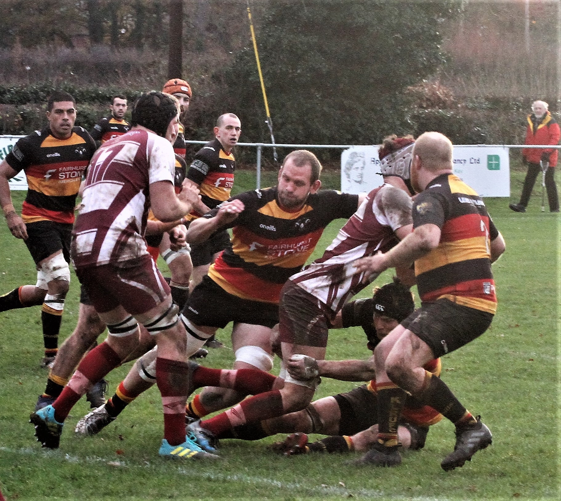 Leandro Kwiczor, Craig Galbraith (tackler) and Dan Armistead at the heart of Kirkby's defence at Wirral