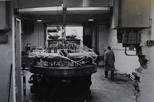 New soles machine being installed at K Shoes factory in Kendal, to keep up with demand in 1985