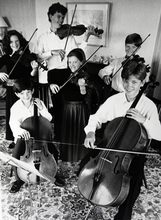 members of the musical Lyon family when they played at Hawkshead Church in 1994