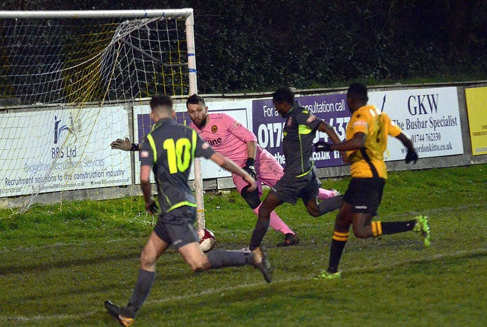 Action from the Prescot Cables match (Picture by Richard Edmondson)