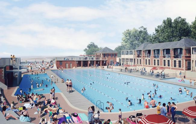 An artist's impresison of how the restored Grange Lido could look