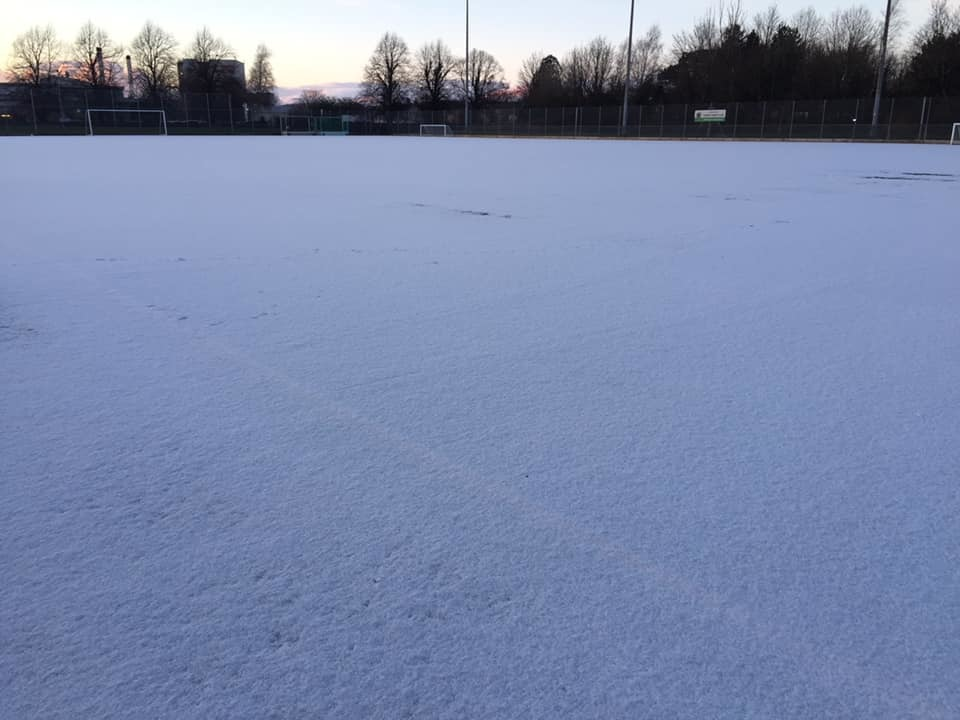 A snow covered Queen Katherine School Astro Turf (Photograph courtesy of Vicky Jones)