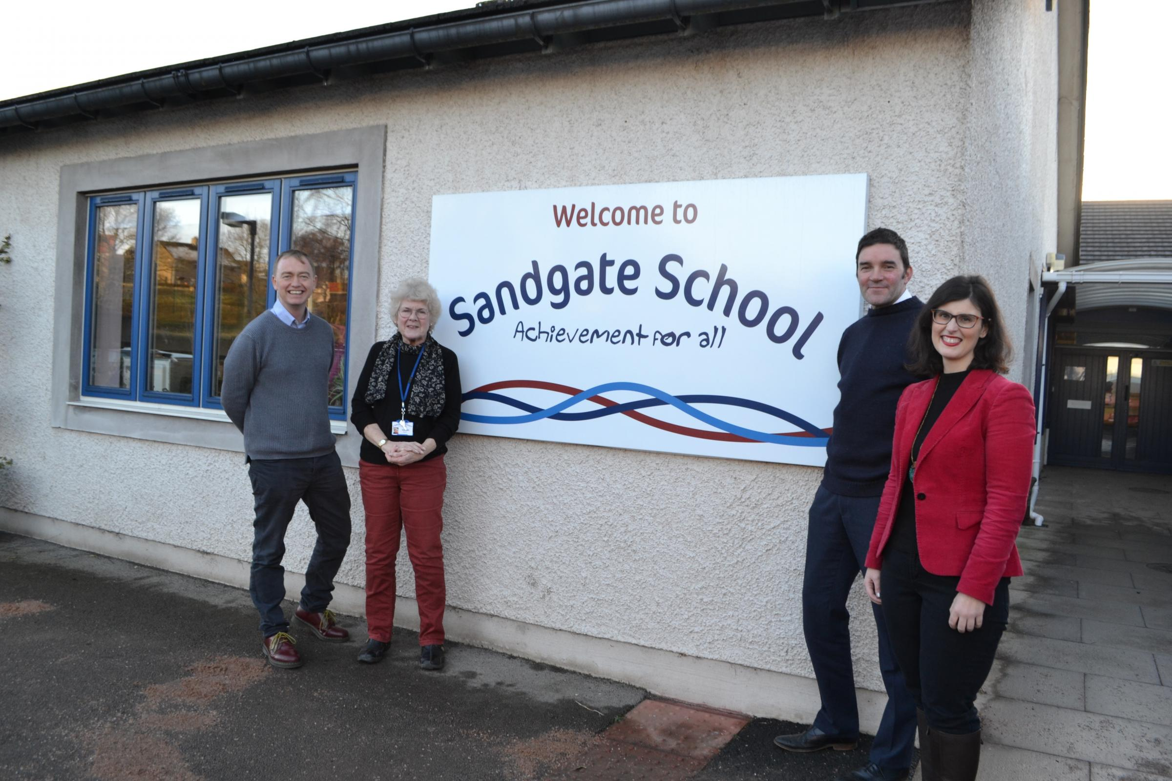 Pictured during the Sandgate School visit are, from left, MP Tim Farron MP, the school's chair of governors Ruth Cutler, head teacher Dan Hinton and Layla Moran MP