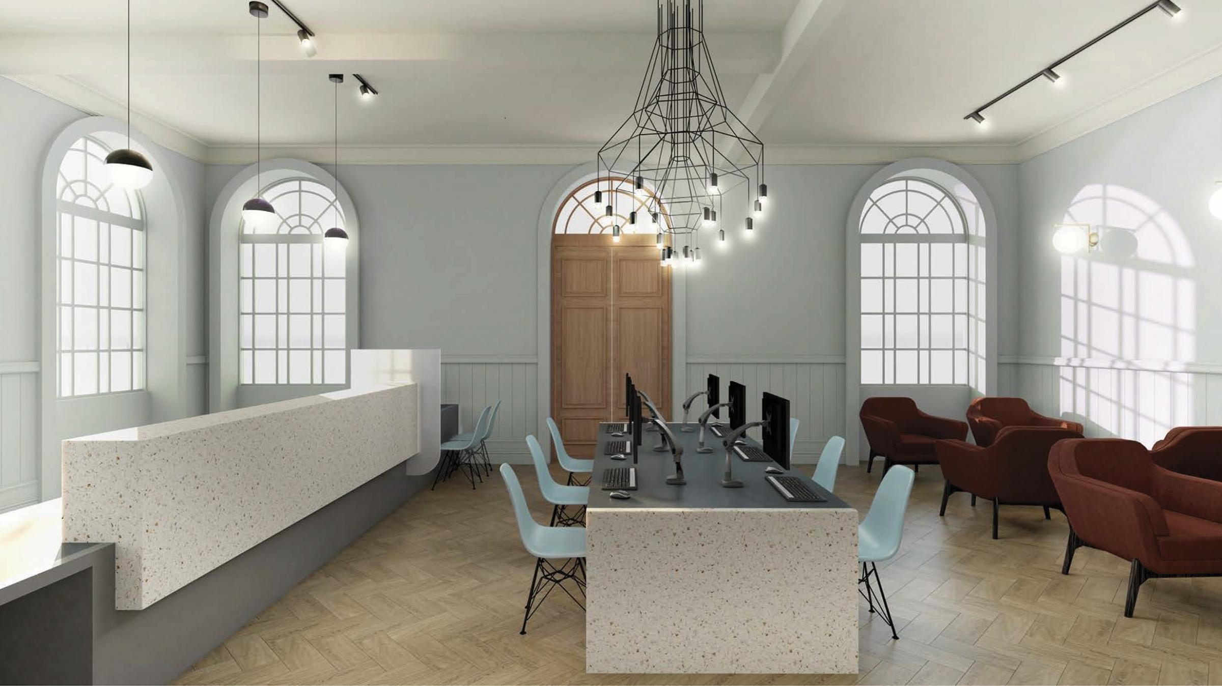A visualisation of the new reception at Kendal Town Hall