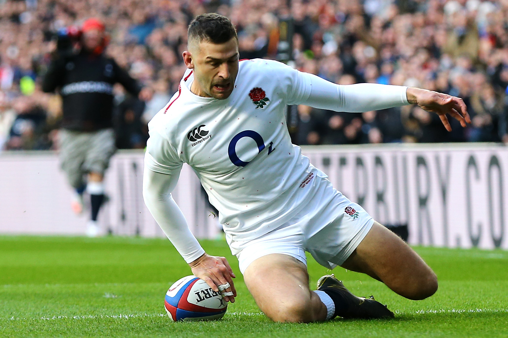 Jonny May scores England's first try of the game