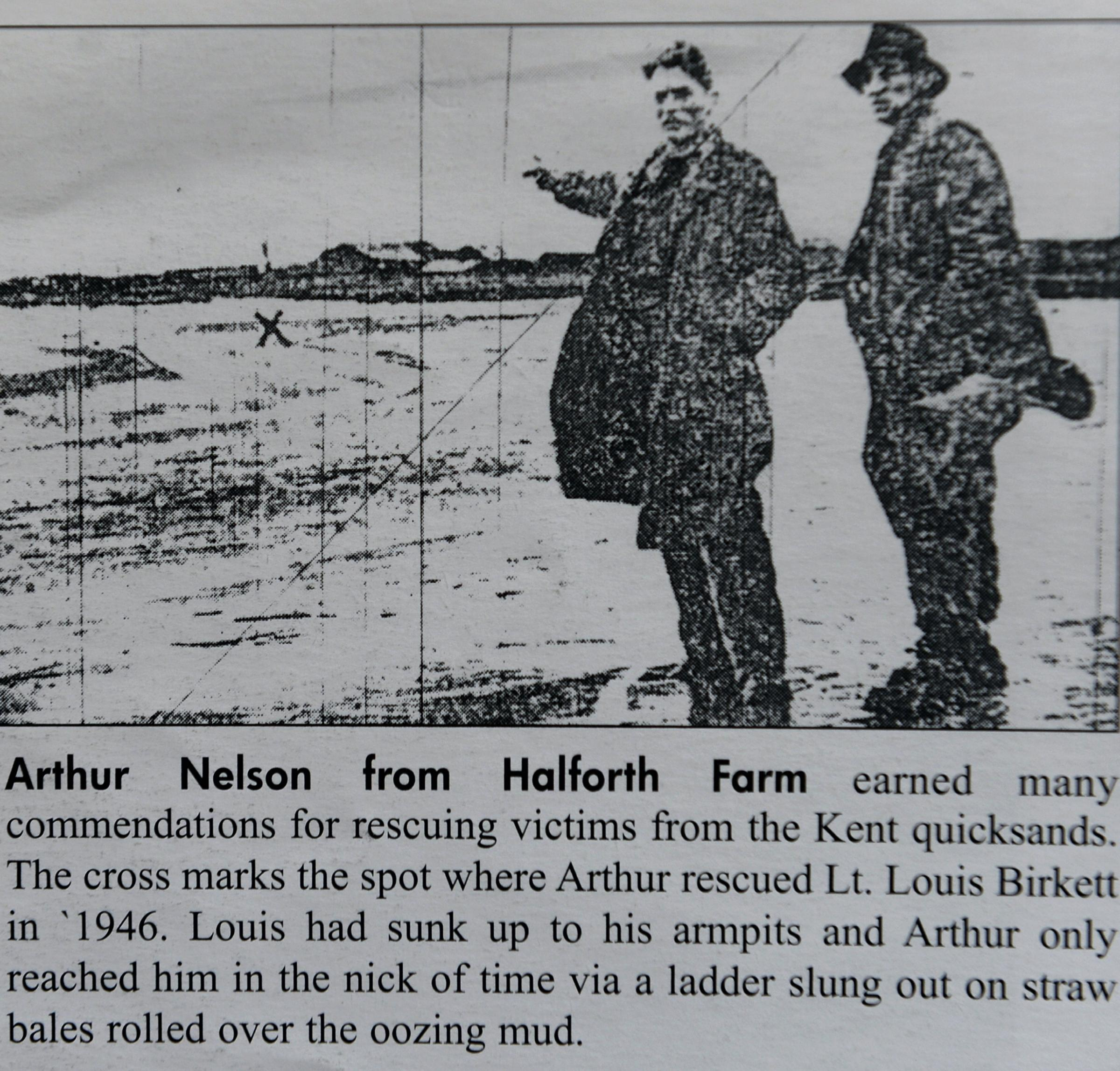 Arthur Nelson from Halforth pointing to where he rescued by Lt Louis Birkett after he had sunk up to his arnpits in the quicksands