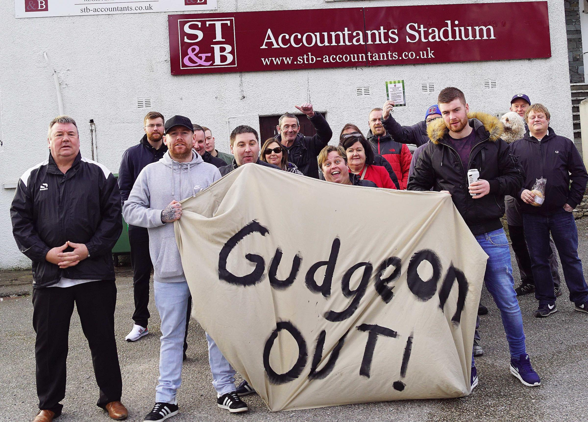 Kendal Town fans protest prior to Saturday's game