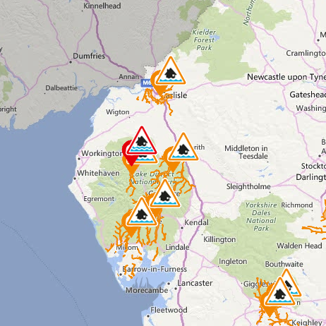 Flood alerts issued for Cumbria