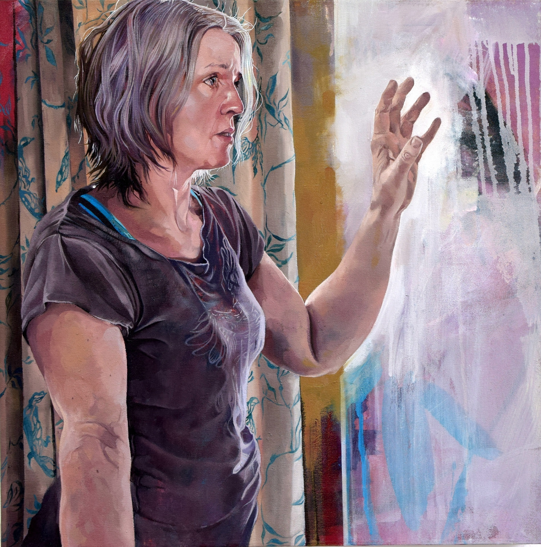 Catherine MacDiarmid's self-portrait which led to her selection for the Sky show; Catherine will appear on April 9 in the semi-final of the competition