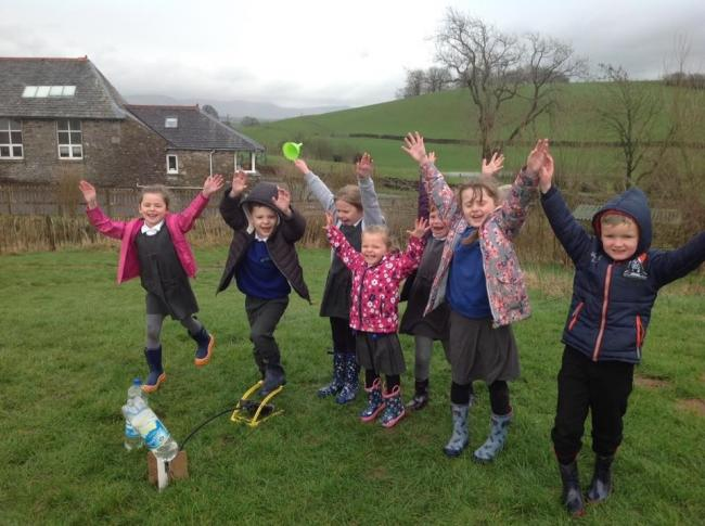 Selside children celebrate the village school's Ofsted report