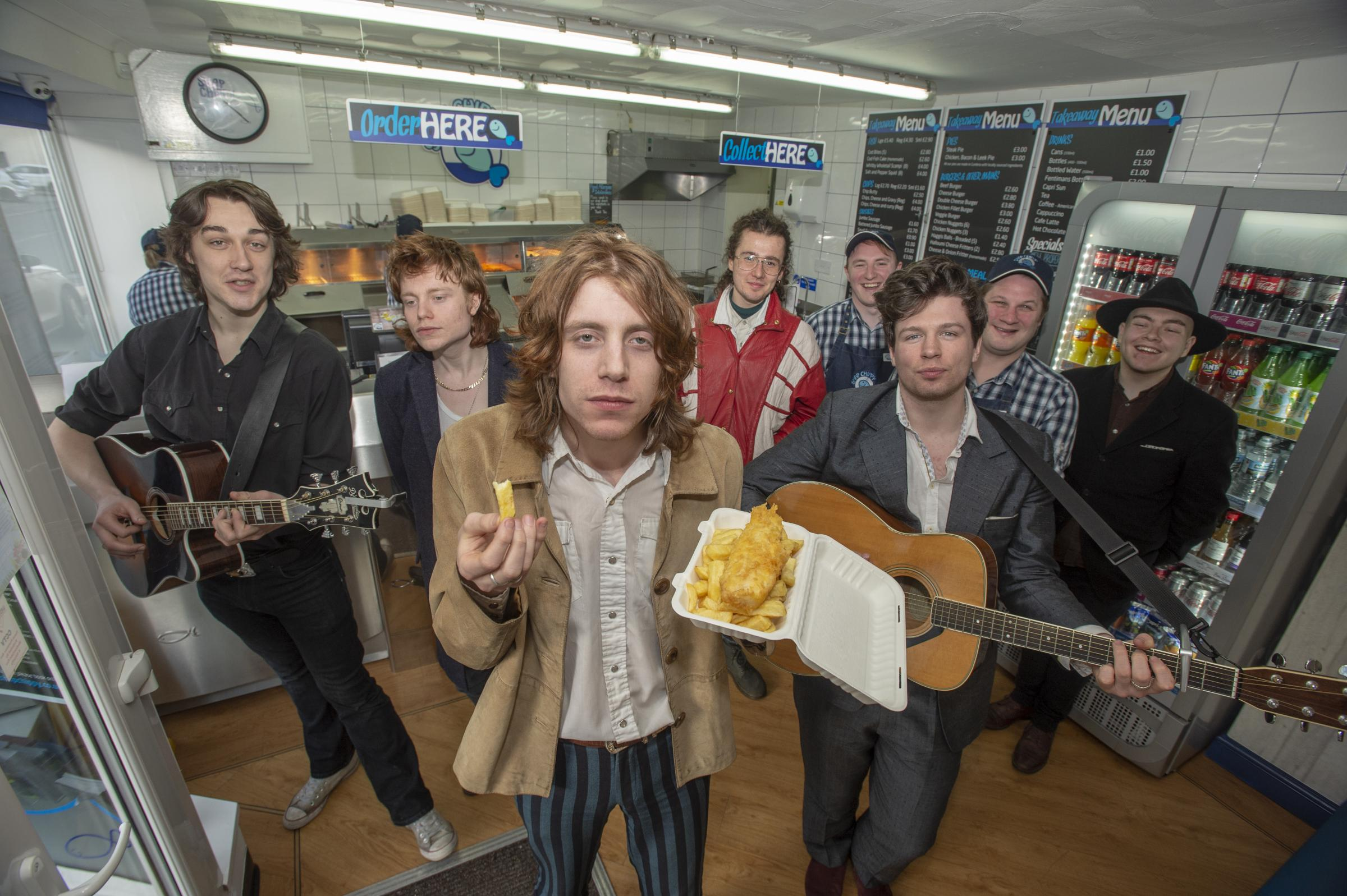 Kendal Calling bands perform at Shap fish and chip shop