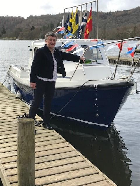 Commodore Mrs Clare Houlihan christening Retriever III at the start of the 2019 racing season