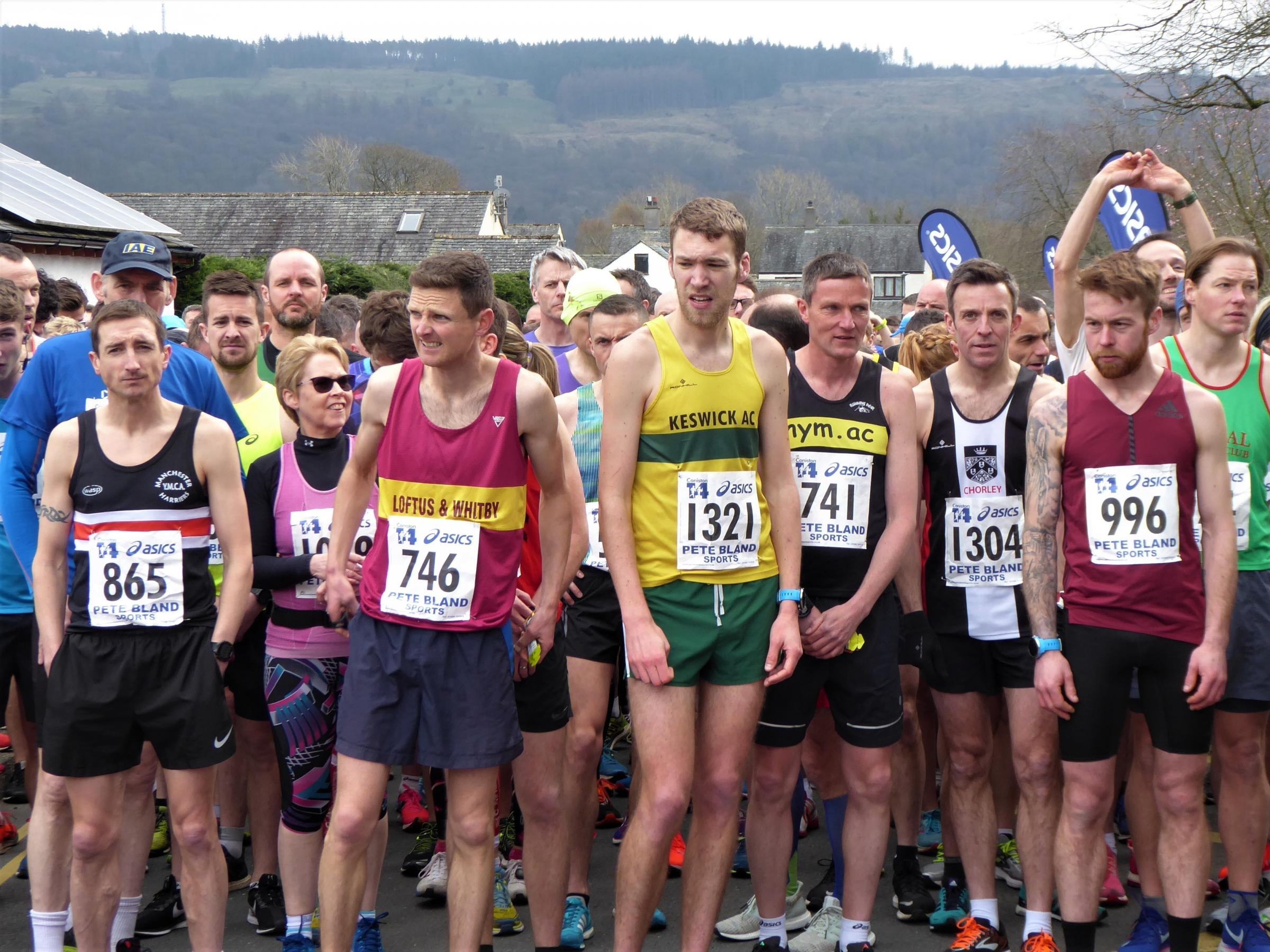Runners ready for the off at the start of the Coniston 14-mile road race