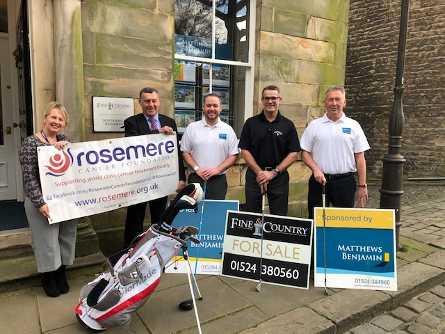 Preparing to tee off Matthews Benjamin and Fine & Country's sponsorship of the annual Morecambe Golf Club Rosemere Cancer Foundation Golf Day are company director Andrew Kneale (second right) with Rosemere's Cathy Skidmore, and from the le