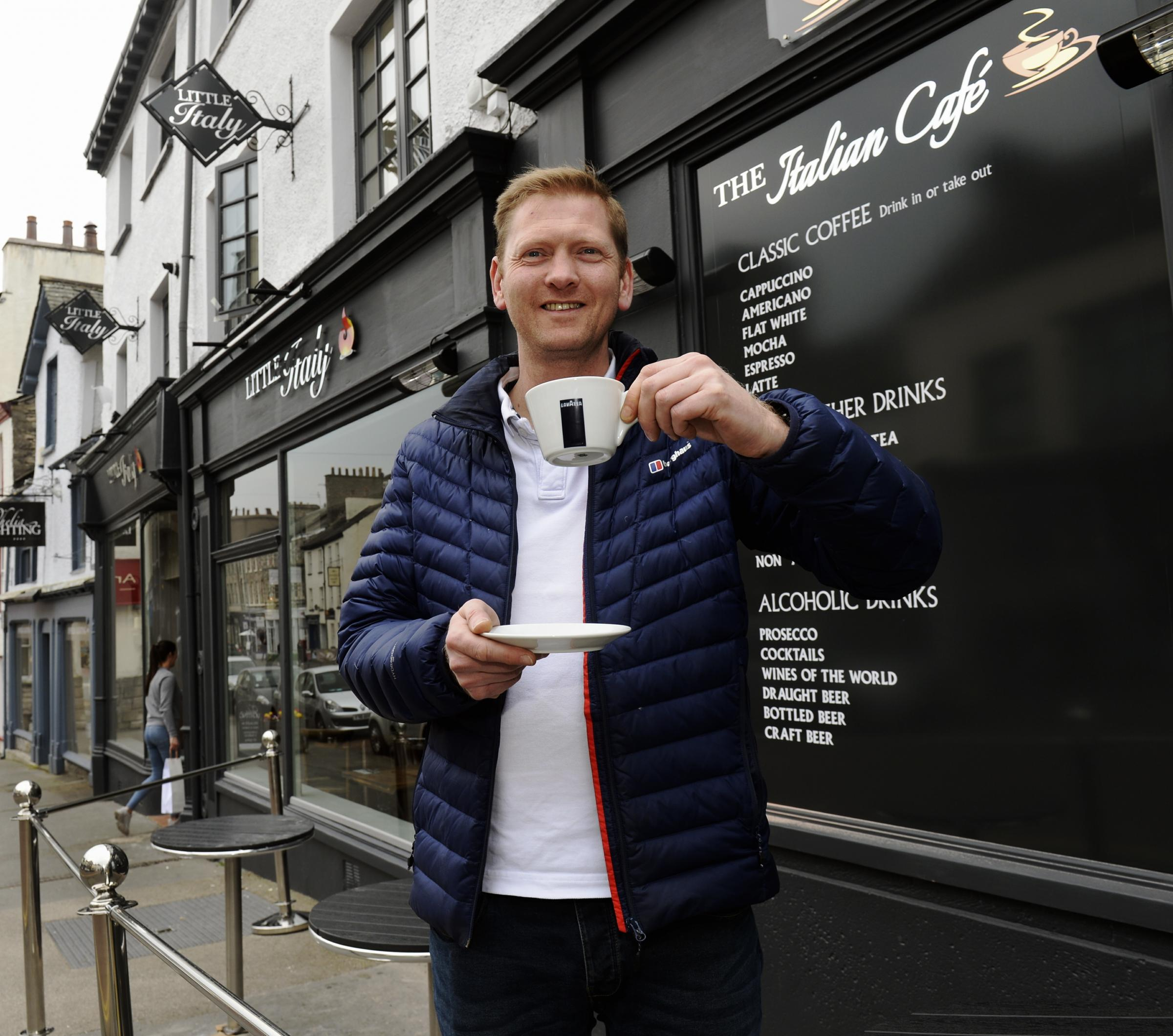 Little Italy manager James Heap outside his Italian-themed restaurant and its neighbouring bar, which opens today in Kendal.
