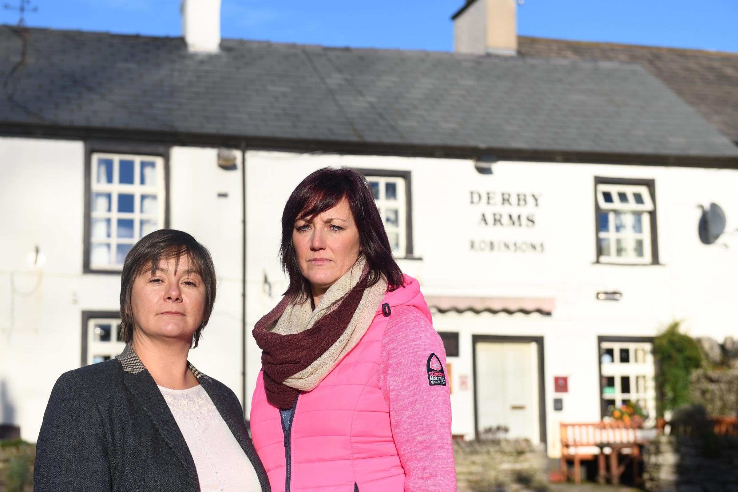 Derby Arms pub closing:  Denise Chamberlain, Parish Councillor and Jo Ritchie chair of Urswick events committee.