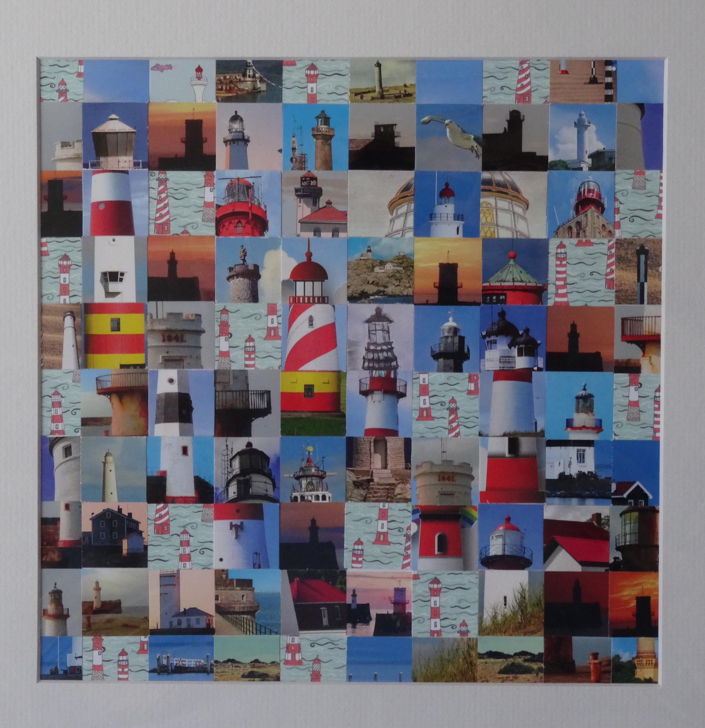 Natalie Burn's The Lightness of Being, one of the artist's collages featured in her 100 Squares exhibition running at The Old Courthouse, Shap