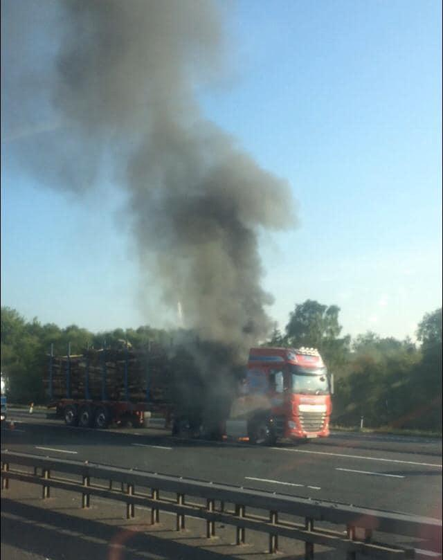 A timber wagon caught fire on the M6 near Carlisle Photograph by Carlisle East Fire Station