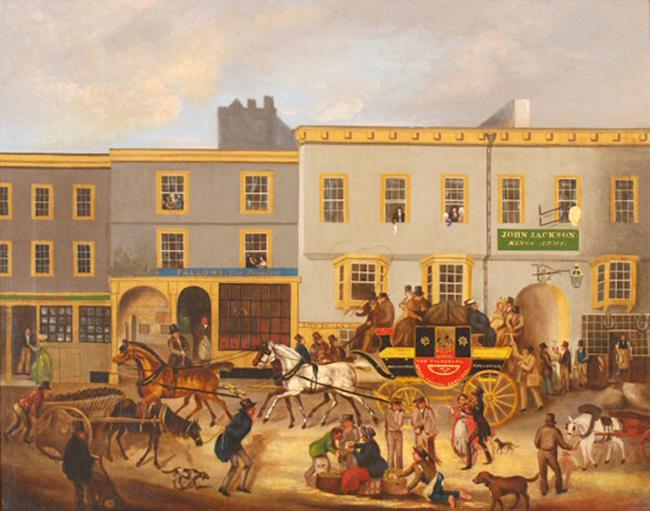 A stagecoach outside the King's Arms on Stricklandgate in around 1820